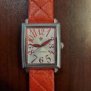 Judith Ripka 28mm Rectangle Red Womens Watch